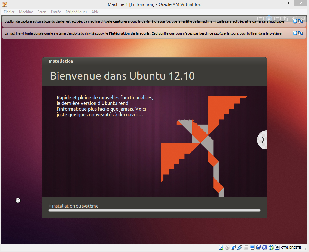 Ubuntu Progression de l'installation