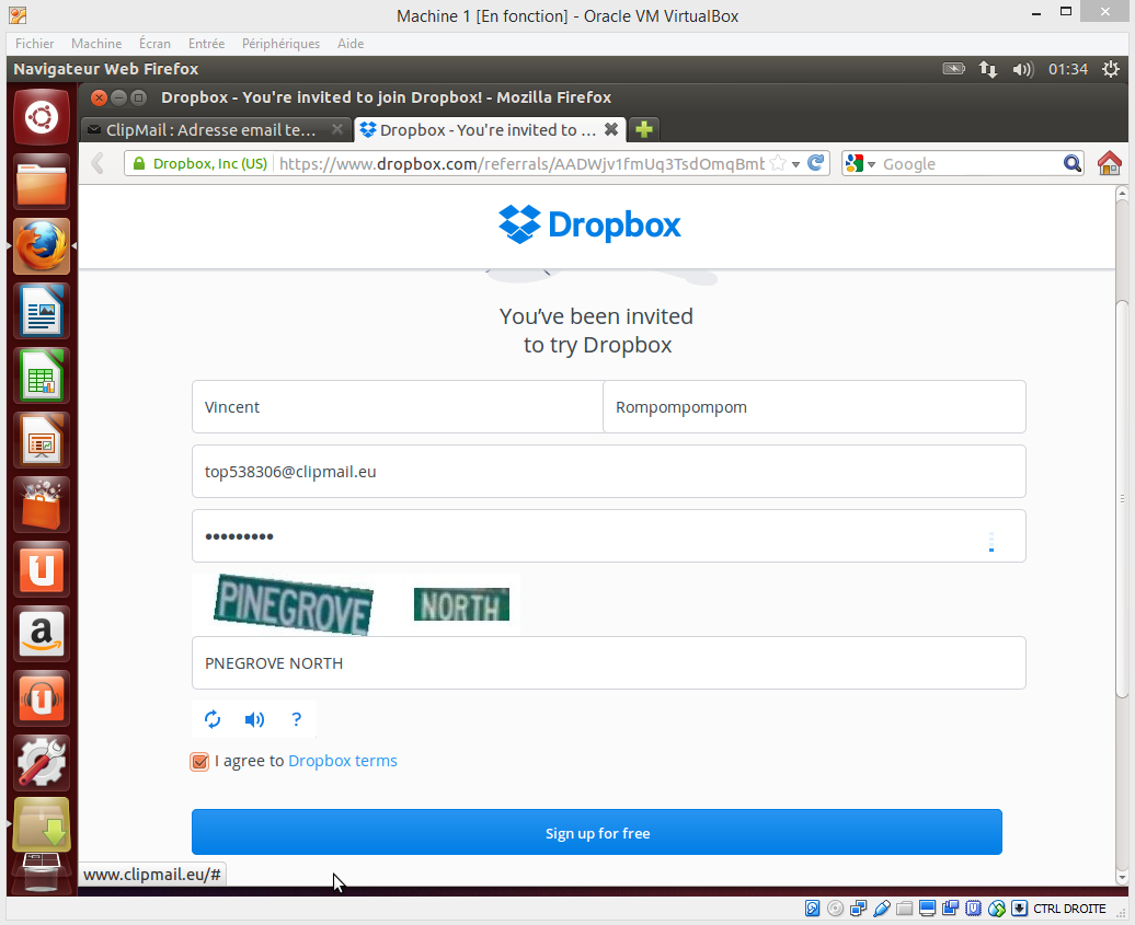 Inscription filleul Dropbox