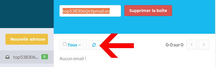 Rafraichir la boîte email