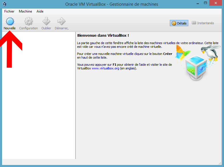 VirtualBox bouton Nouvelle