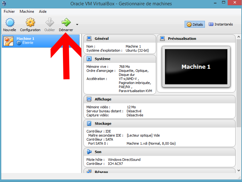VirtualBox Démarrer