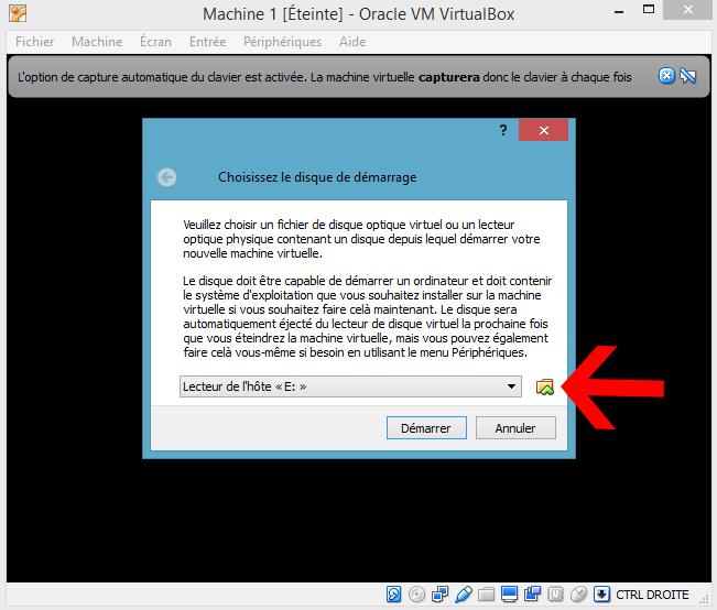 VirtualBox Choix de l'OS