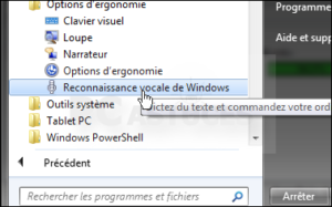 reconnaissance vocale de Windows 7