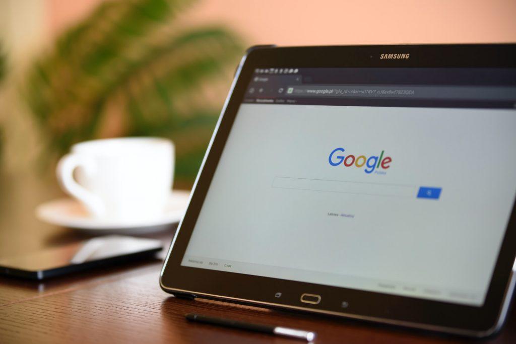 Google sur une tablette
