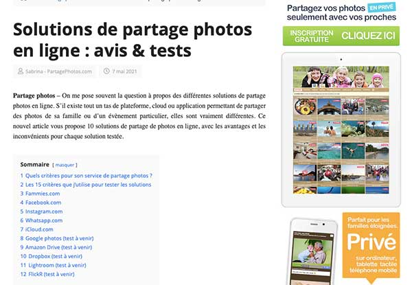 comparatif des solutions de partage de photos
