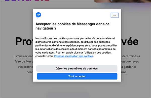 Messengeur Facebook cookies