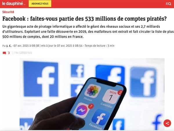 piratage 500 millions de comptes Facebook